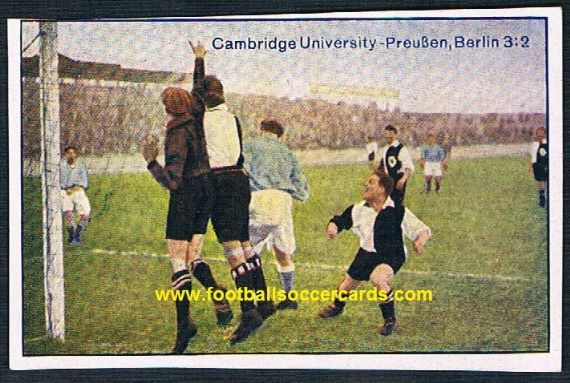 1920s Cambridge University Soccer team v Preussen Berlin German Greiling cigarette card